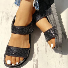 Load image into Gallery viewer, Sequins Velcro Design Open Toe Flat Sandals
