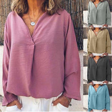 Load image into Gallery viewer, Solid Color Casual Long Sleeve Loose Blouses