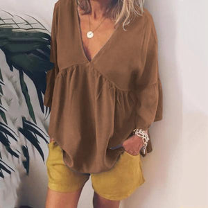 Fashion Loose Splice V Collar Long Sleeve Top