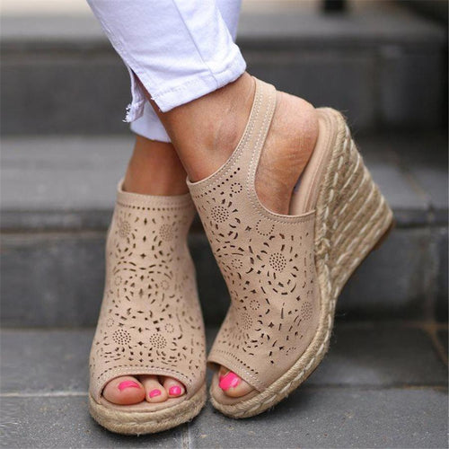 Espadrille Openwork Carved Wedge Sandals