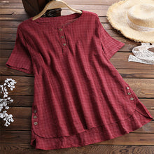 Load image into Gallery viewer, Summer Short Sleeve Button Round Neck Blouses