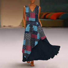 Load image into Gallery viewer, Plus Size Elegant V Neck Splicing Printed Colour Sleeveless Dress