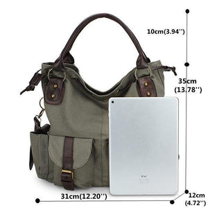 Multi-pocket Canvas Handbags Casual Crossbody Bag Leisure Shopping Shoulder Bags