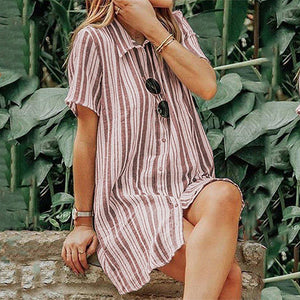 Striped Short-Sleeved Dress