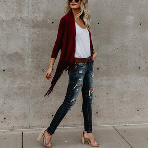 Loose Irregular Collar Tassels Cape Blouses