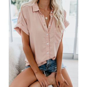 Turndown Collar Pure Colour Pocket Short Sleeve Blouse