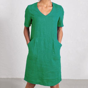 Solid Sweetheart Pockets Short Sleeve Dresses