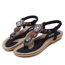 Load image into Gallery viewer, Summer Women Beading Bohemian Casual Beach Flat T-Strap Sandals