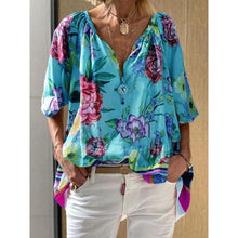 Load image into Gallery viewer, Floral Printed V-Neck Mid-Length Half Sleeve Blouse