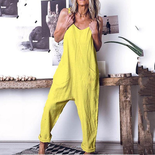Leisure Pure Color High Waist Sleeveless Jumpsuits