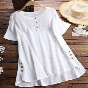 Summer Short Sleeve Button Round Neck Blouses