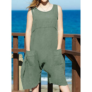 Summer Casual Solid Color Round Neck Short Jumpsuit