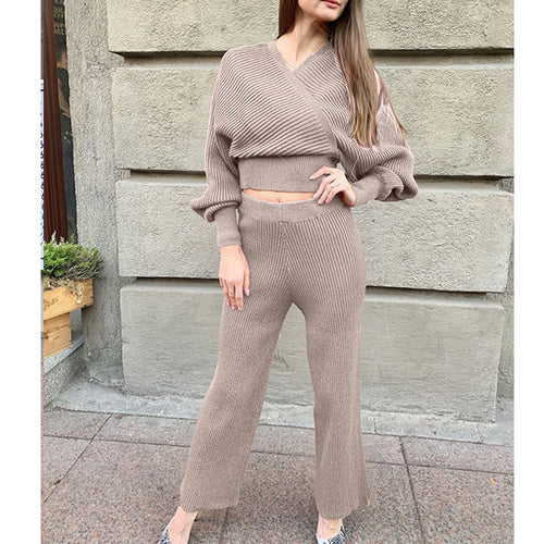 Sexy V-neck Knit Two-piece Set Sweater