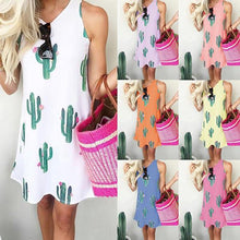 Load image into Gallery viewer, Casual Cactus Printed Sleeveless Dress