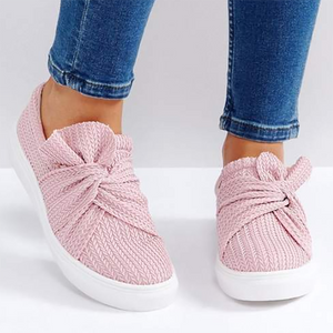 Casual Solid Color Bow Flat Loafers Shoes