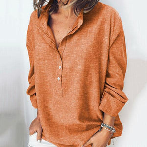 Button Fly Solid Color Blouse