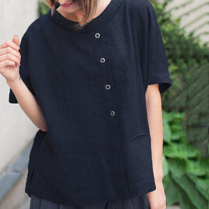 Casual Back Pocket Solid Color Blouse