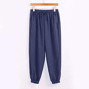 Casual Elastic Waist Plain Pants