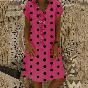 V Neck Big Polka Dot Print Loose Dress