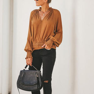 Casual Loose V-neck Waist Blouses