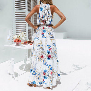 Women Holiday High Neck Floral Dress