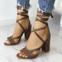 Load image into Gallery viewer, Sexy Lace-up Mid-heel Sandals