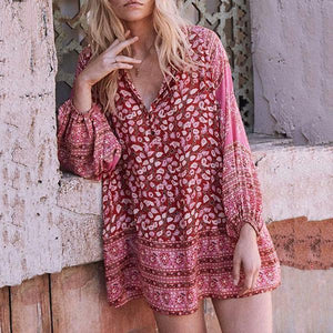 Bohemian Style Printing Loose Mini Dress