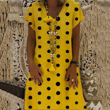 Load image into Gallery viewer, V Neck Big Polka Dot Print Loose Dress