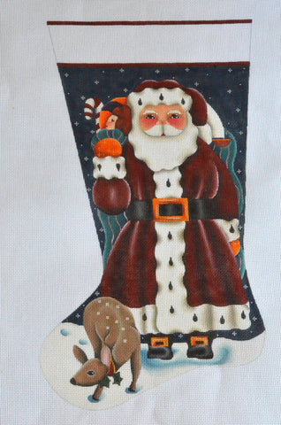 Santa with Deer Stocking