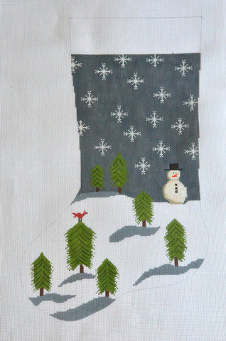 Snowman and Trees Stocking