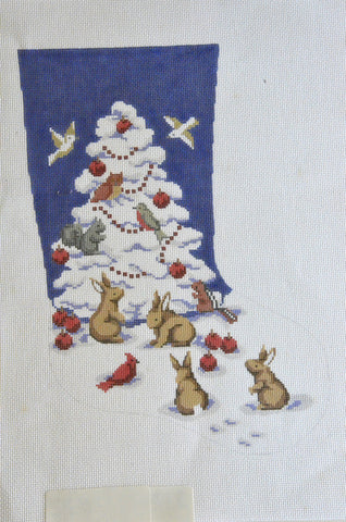Bunnies and Tree Stocking