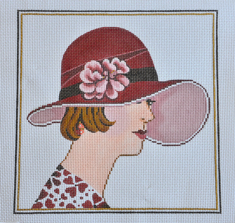 Woman in Vogue Hat with Flower