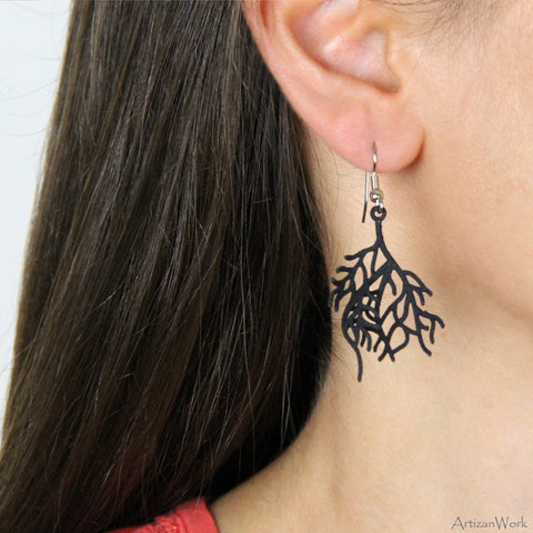 Coral Fan Lg - Earrings (Black or White)