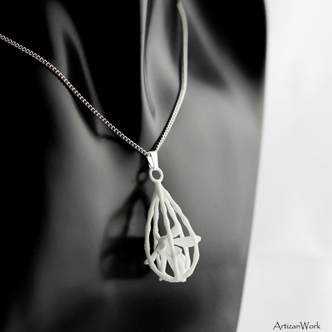 Caged Bamboo - Necklace (Black or White)