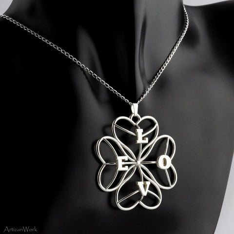 Four Leaf Heart Clover - Necklace (Sterling Silver)