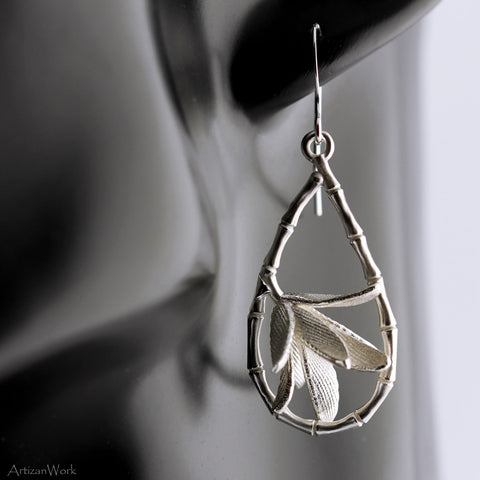 Caged Bamboo - Earrings (Sterling Silver or Gold)