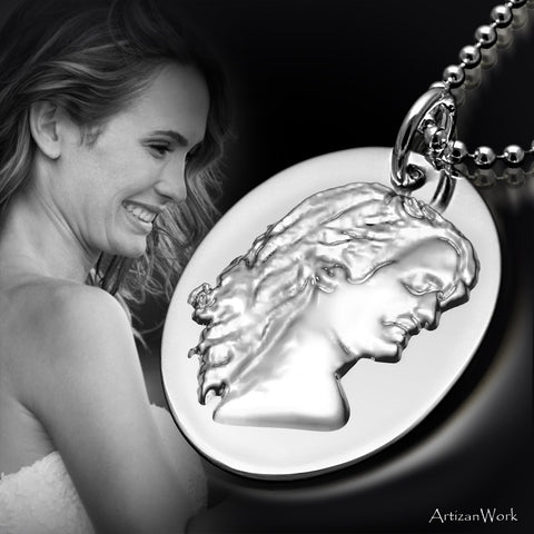 Custom 3D Silhouette Charm - Necklace (Sterling Silver or Gold)
