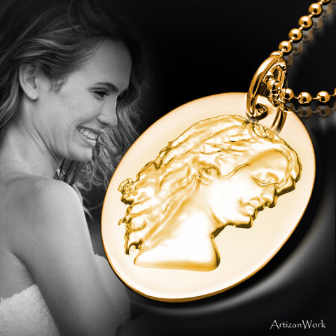 Custom Gold 3D Silhouette Charm - Necklace