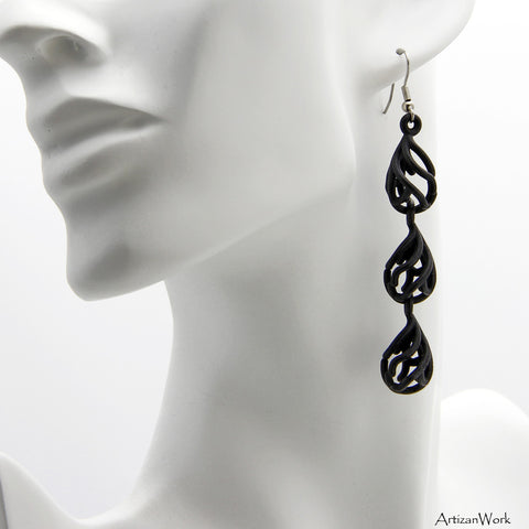 Coral Dangling Earrings in the Color Black
