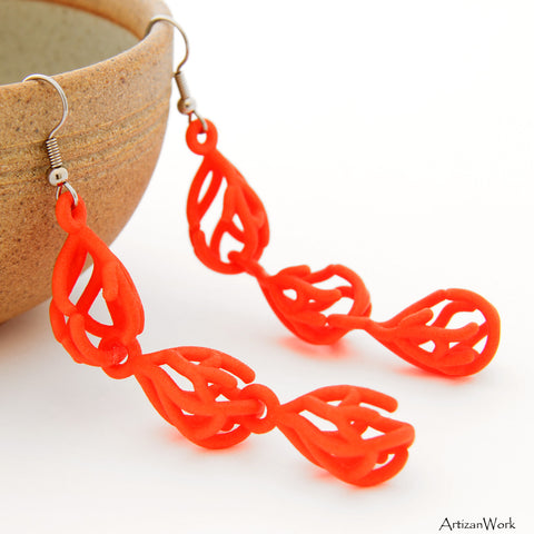 Coral Dangling Earrings in Salmon