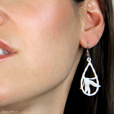 Caged Bamboo - Earrings (Black or White)