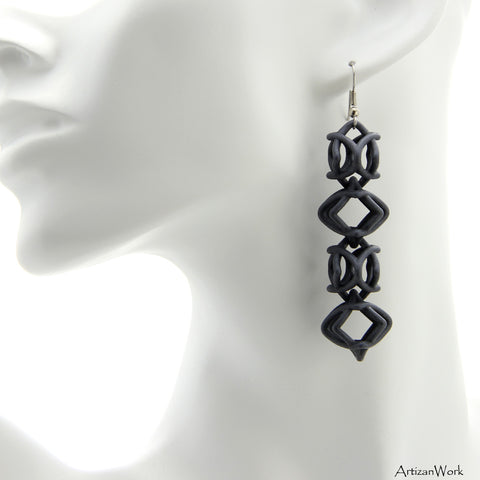 Diamond Inspired Dangling Earrings in Gray
