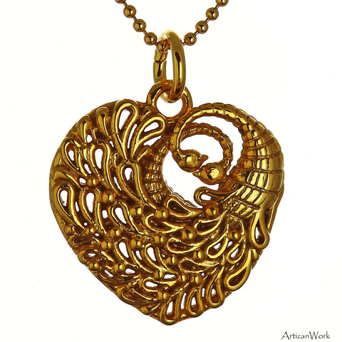 Peacock Heart Necklace