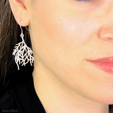 Coral Fan Lg - Earrings (Sterling Silver or Gold)