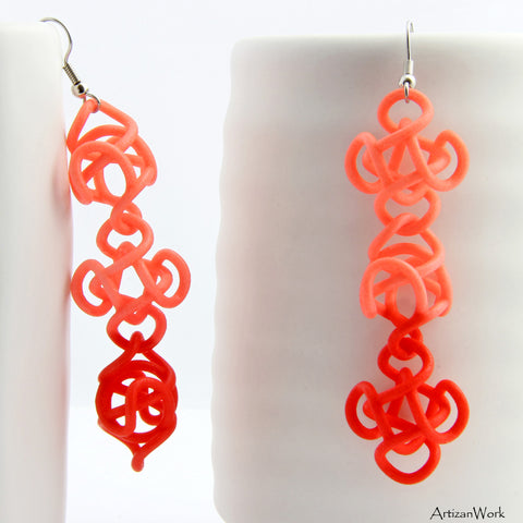 Falling Star Dangling Earrings in Two Tone Salmon Color