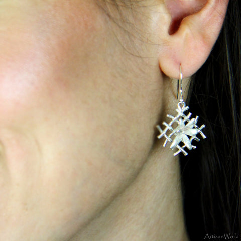 Diagonal Bamboo - Earrings (Sterling Silver or Gold)