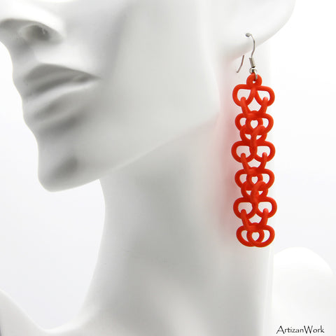 Chain Link Dangling Earrings in Salmon