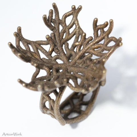 Coral Fan Lg - Ring (Stainless Steel)