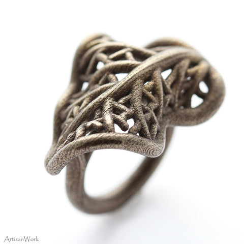 Curled Leaf - Ring (Stainless Steel)