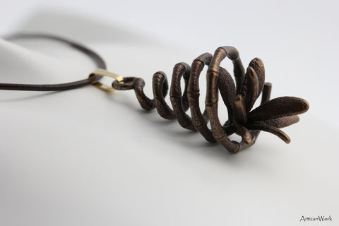 Spiral Bamboo - Necklace (Stainless Steel)